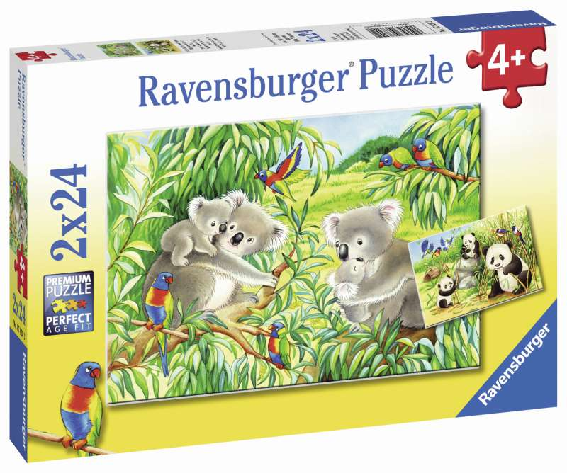 Sweet Koalas and Pandas Puzzle 2x24pc - Ravensburger