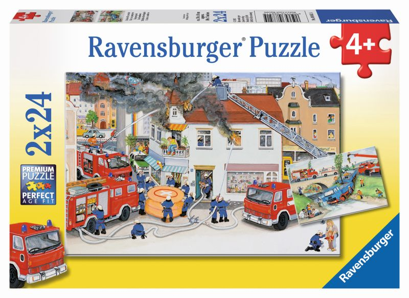 Busy Fire Brigade 2x24pc Puzzles - Ravensburger