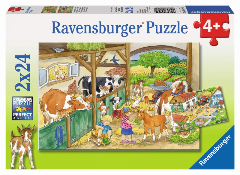 A Day at the Farm 2x24pc Puzzles - Ravensburger