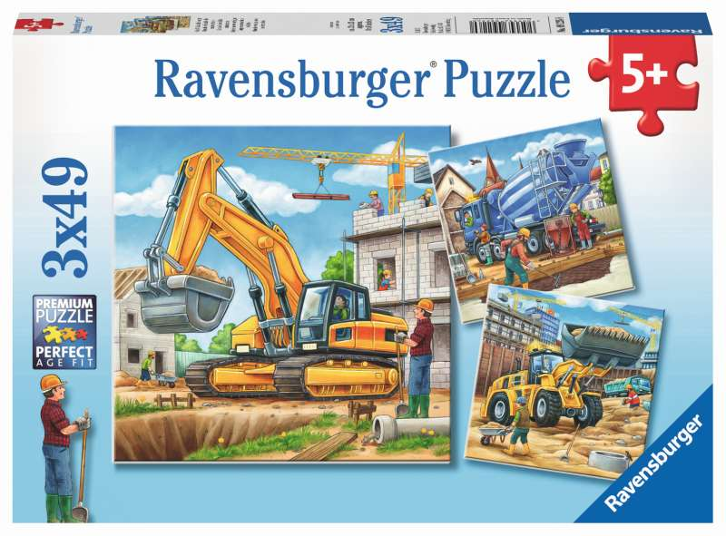Construction Vehicles 3x49pc Puzzles - Ravensburger