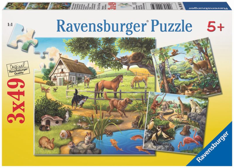 Forest Zoo and Pets 3x49pc Puzzles - Ravensburger