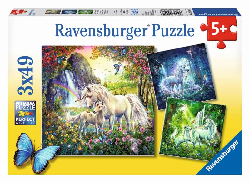 Beautiful Unicorns 3x49pc Puzzles - Ravensburger