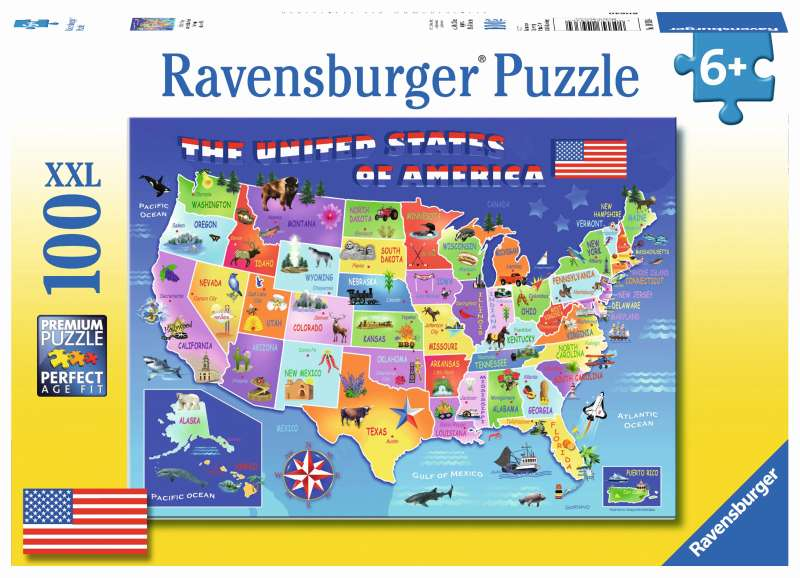 USA State Map 100pc Puzzle - Ravensburger