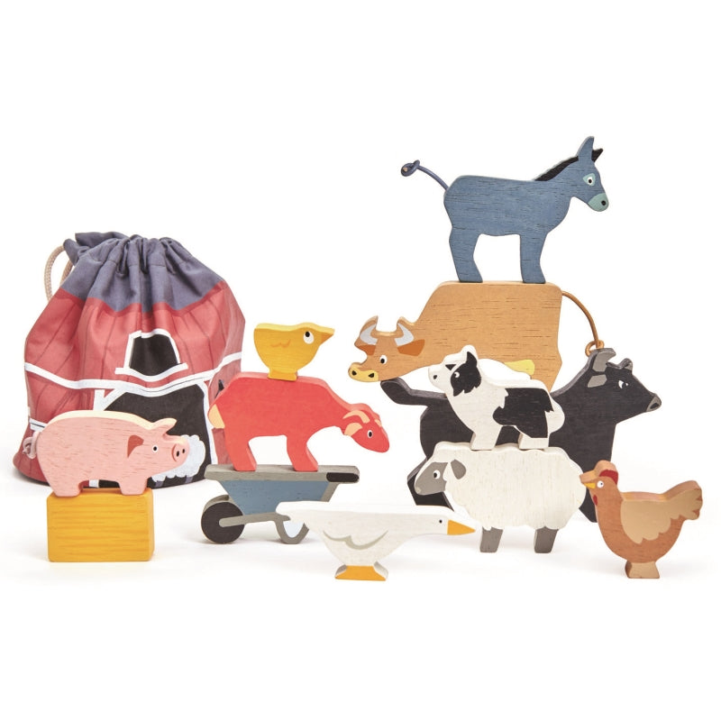 Stacking Farmyard Animals with Bag - Tender Leaf Toys