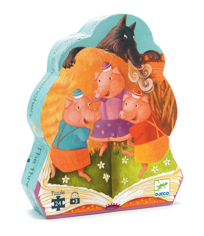 Three Little Pigs Silhouette Puzzle 24pc - Djeco box