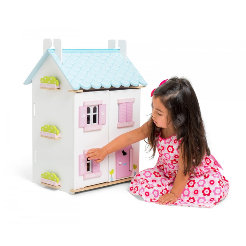 Daisy Lane Blue Bird Cottage Dollhouse with Furniture - Le Toy Van