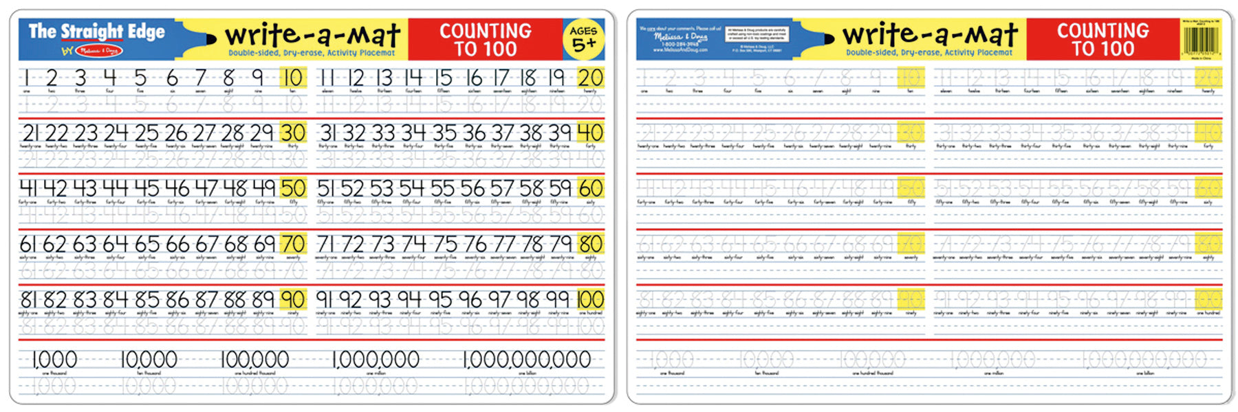 Counting to 100 Write-A-Mat Melissa & Doug