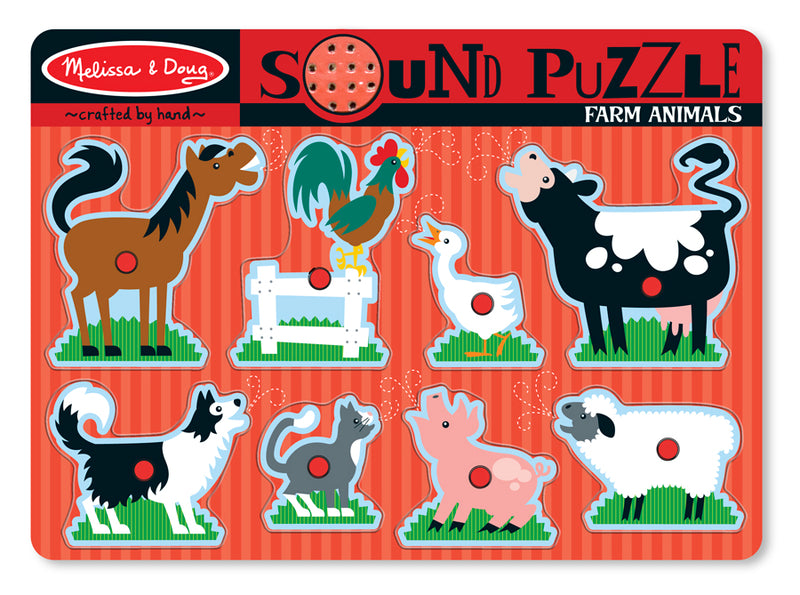 Farm Animals Sound Puzzle 8pc - Melissa and Doug
