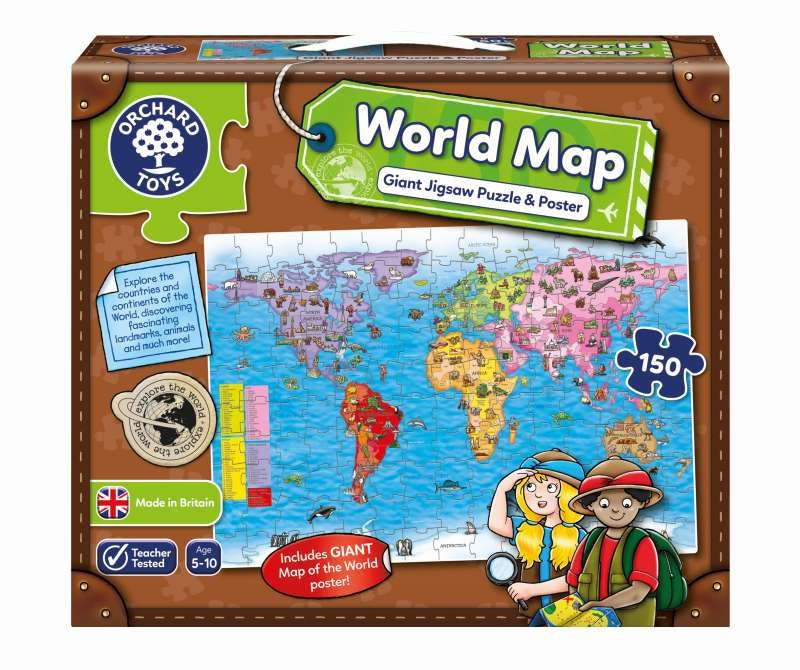 World Map Puzzle & Poster - Orchard Toys