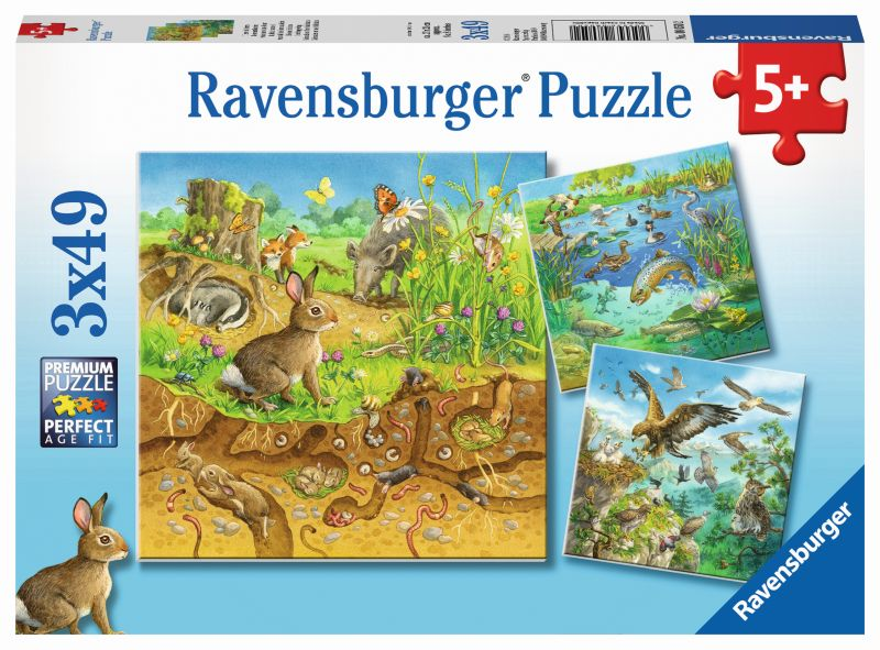 Animals in their Habitats 3x49pc Puzzles - Ravensburger