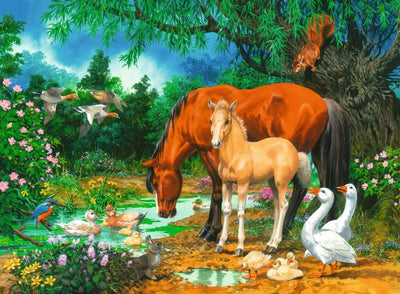 Ponies at the Pond 100pc Puzzle - Ravensburger