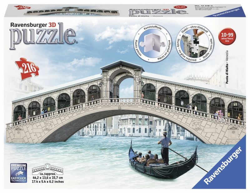Venice Rialto Bridge 3D 216pc Puzzle - Ravensburger