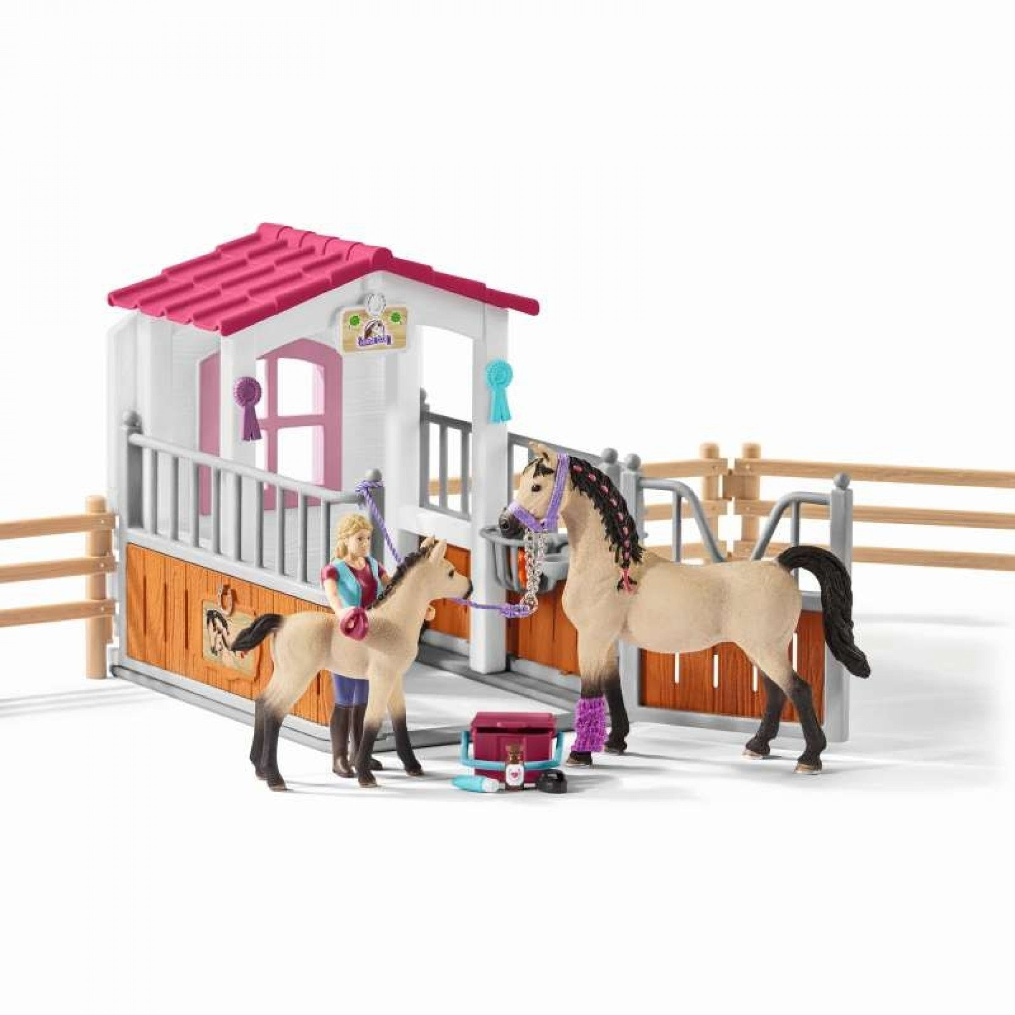 Horse Stall with Horses and Groom - Schleich