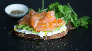 Salmon & avocado sandwich on rye