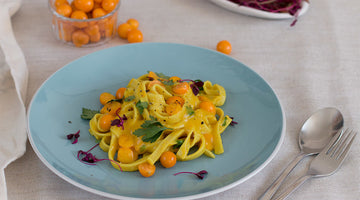 Tangy gooseberry & mustard pasta