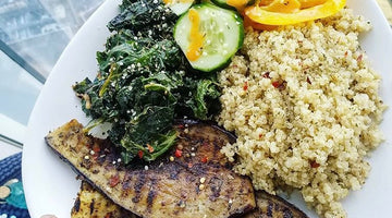 Grilled Aubergine Steaks with Quinoa