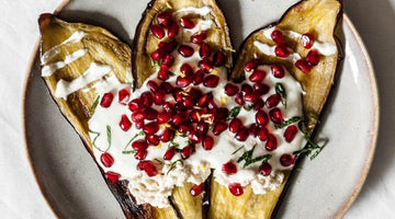 Roasted Aubergine with Pomegranate and Vegan Feta