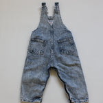1980s Vintage OshKosh Acid Wash Overalls in size 24 months
