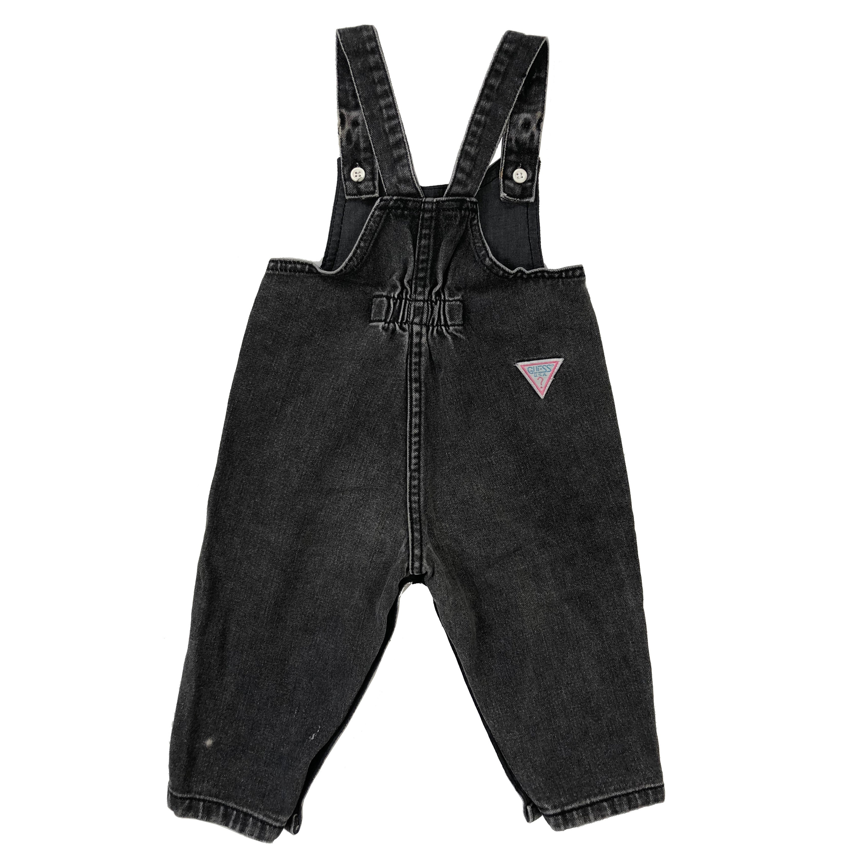 1980s Vintage Guess Black Overalls 12M