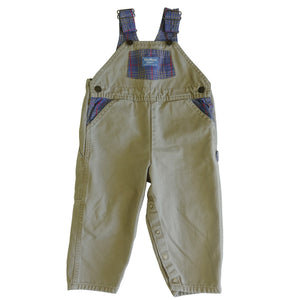 Vintage OshKosh Khaki and Plaid Overalls
