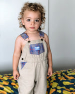 Vintage OshKosh Khaki and Plaid Overalls 2T