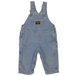 Vintage OshKosh Blue and White Engineer Stripe Overalls 6/9M
