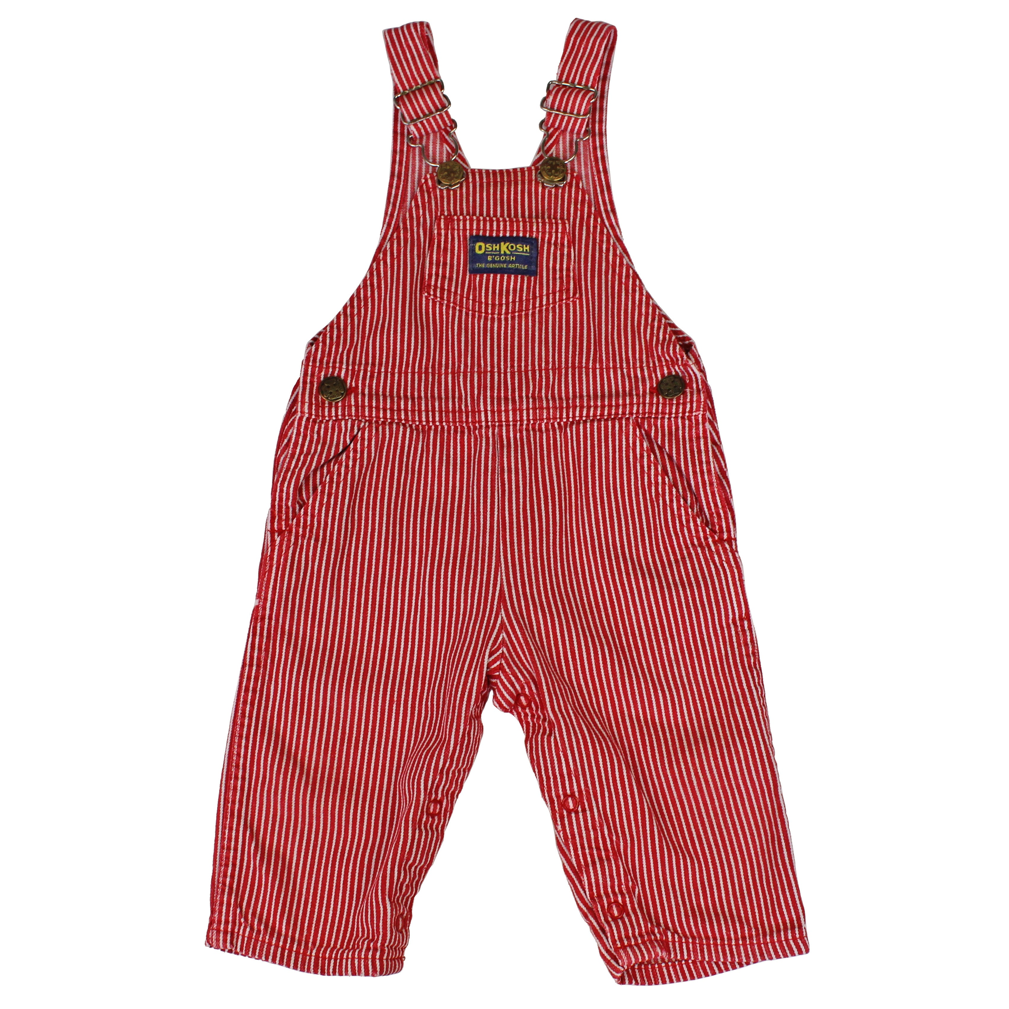 Vintage OshKosh Red and White Engineer Stripe Overalls