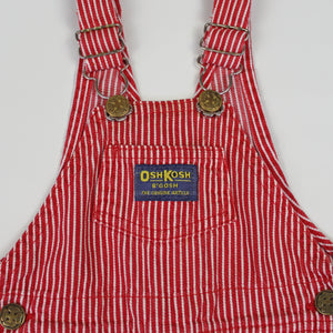 Vintage OshKosh Red and White Engineer Stripe Overalls 12M
