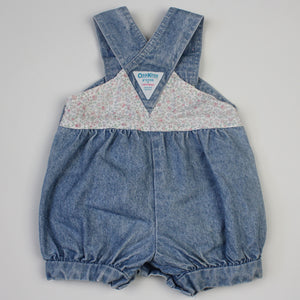 Vintage OshKosh Denim Floral Bubble Romper