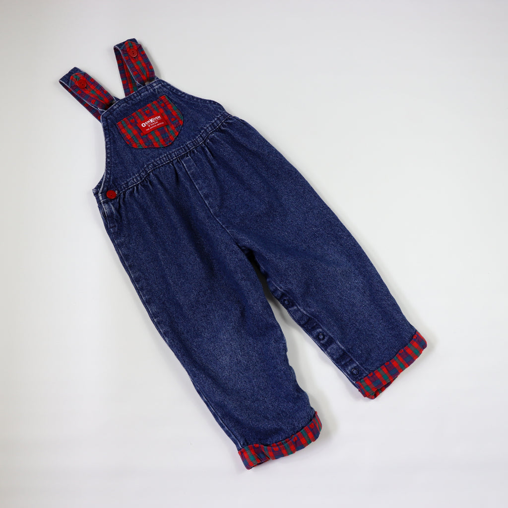 Vintage OshKosh Denim Overalls with Plaid Accents Size 2T
