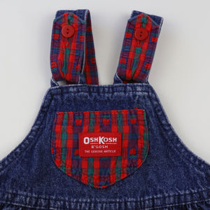 Vintage OshKosh Denim Overalls with Plaid Accents