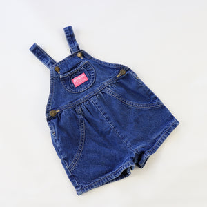 Vintage OshKosh Denim Bubble Shortalls Size 2T