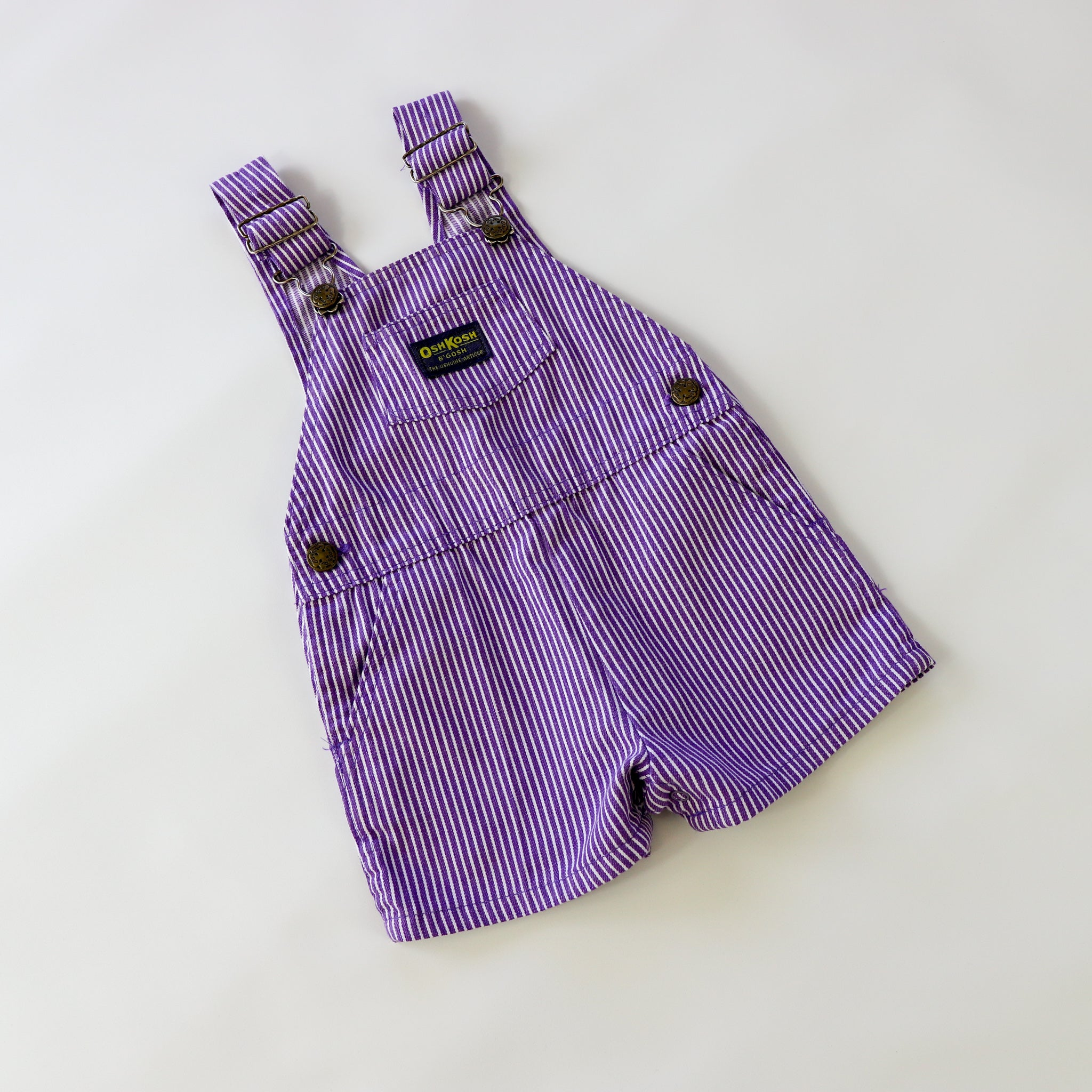 Vintage OshKosh Purple and White Stripe Shortalls Size 24 Months