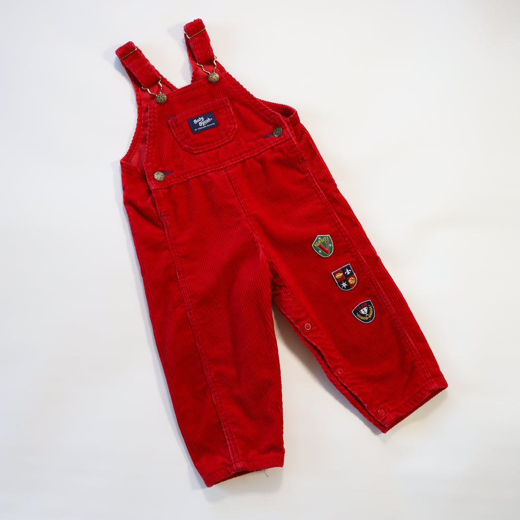 Vintage Baby B'Gosh Red Corduroy Overalls Size 24 Months