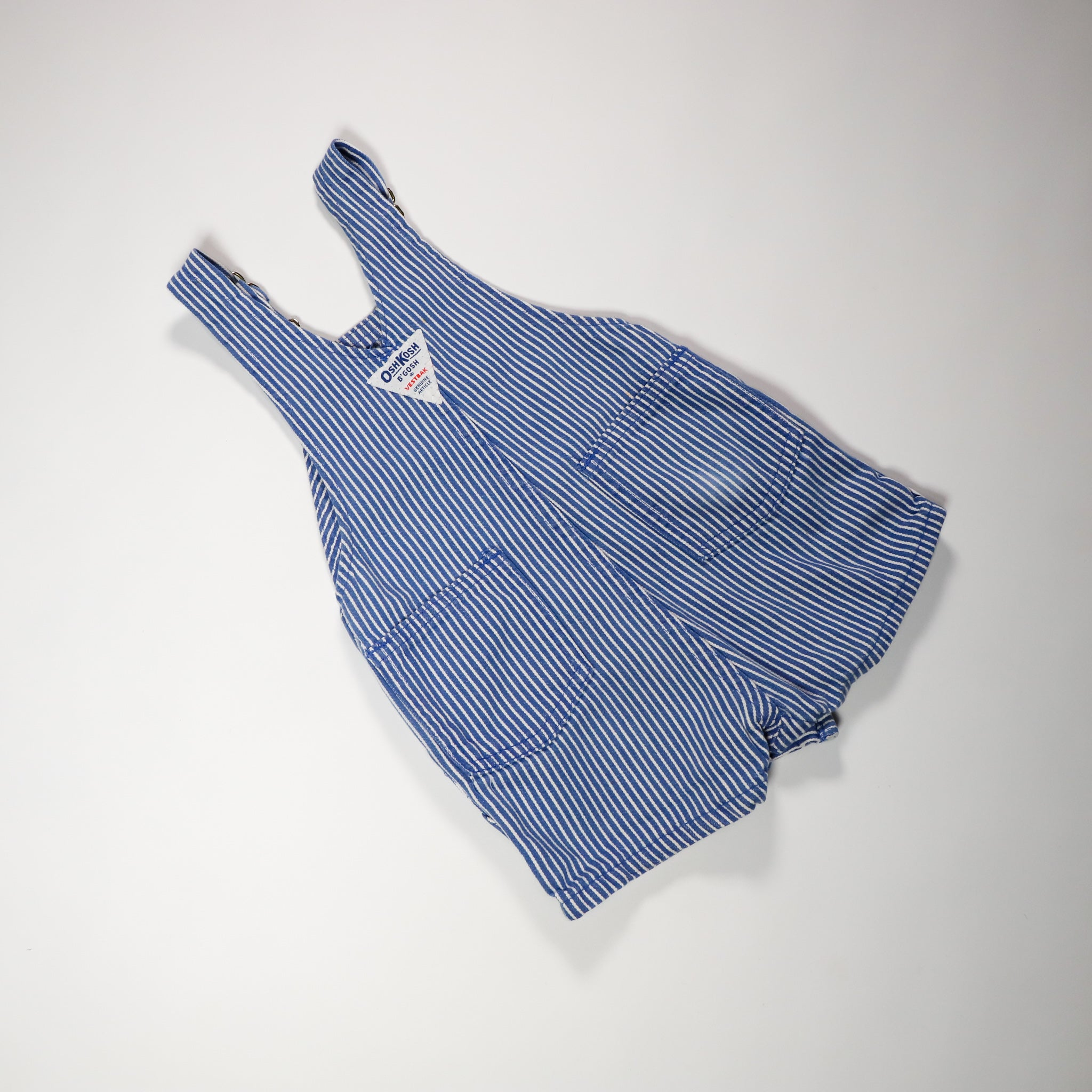 Vintage OshKosh Blue and White Stripe Engineer Shortalls Size 18 Months