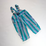 Rare Vintage OshKosh Blue and Green Colour Block Overalls Size 12 Months
