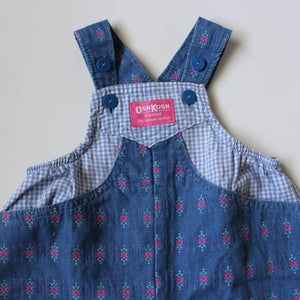 Vintage OshKosh Floral and Gingham Overalls 6-12M