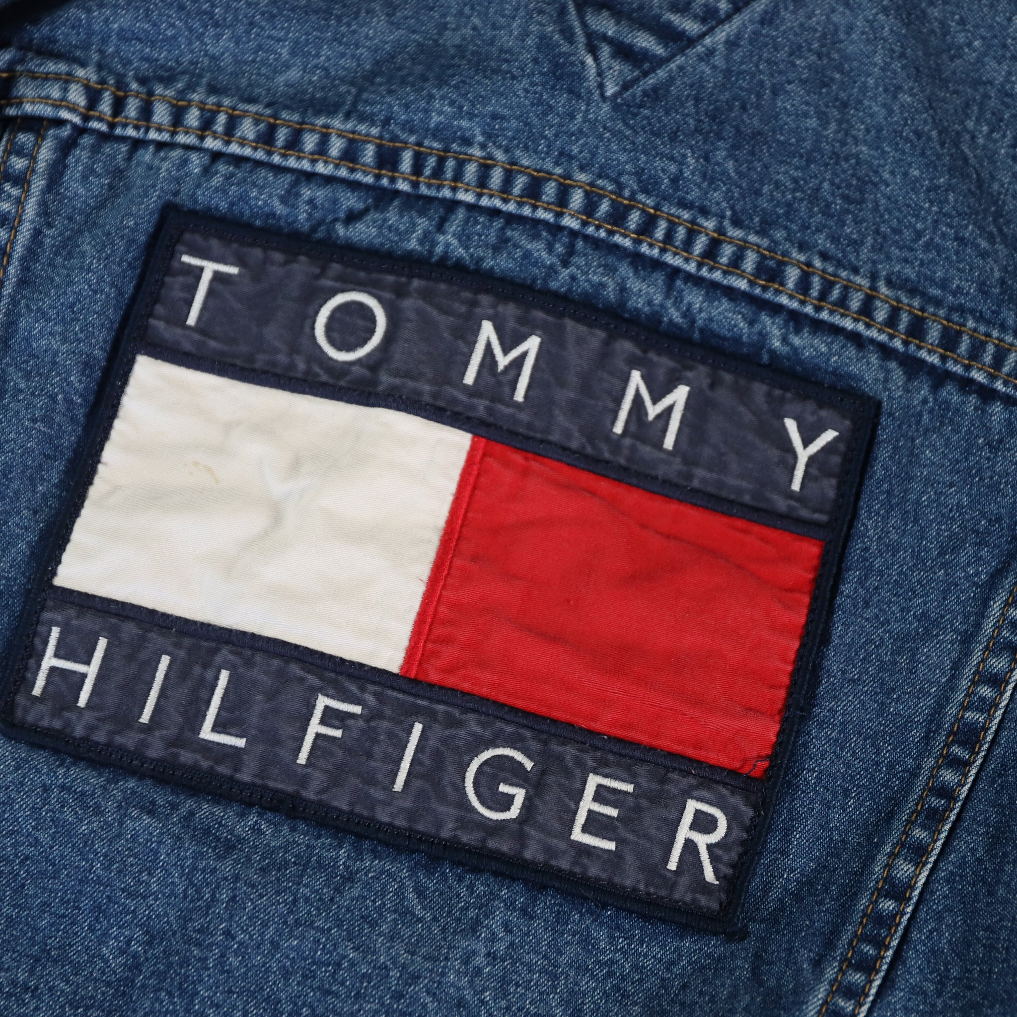 Vintage Tommy Hilfiger Spell Out Denim Jacket Size 5