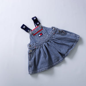 90's Tommy Hilfiger Stars and Stripes Denim Pinafore Dress Size 3-6 Months