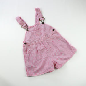 Vintage OshKosh Pink and White Stripe Shortalls Size 3T