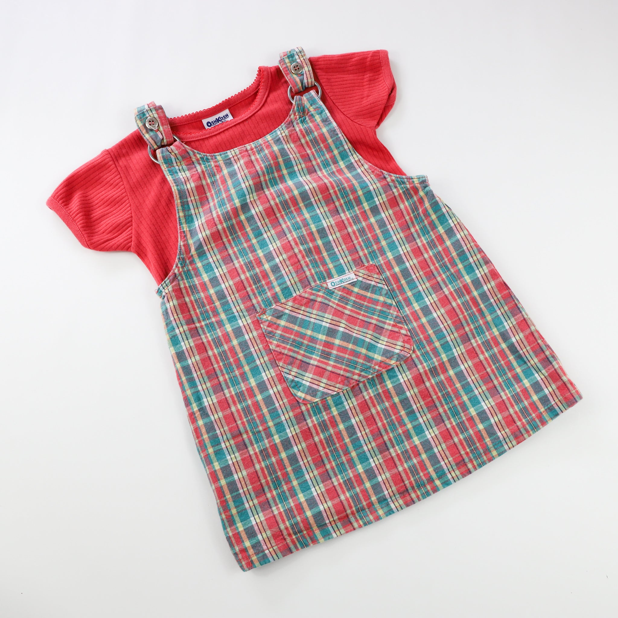 Vintage OshKosh Plaid Dress Size 4T