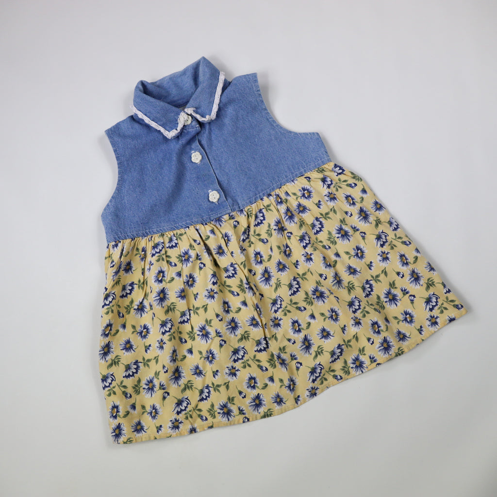 90s Denim and Floral Dress Size 18-24 Months