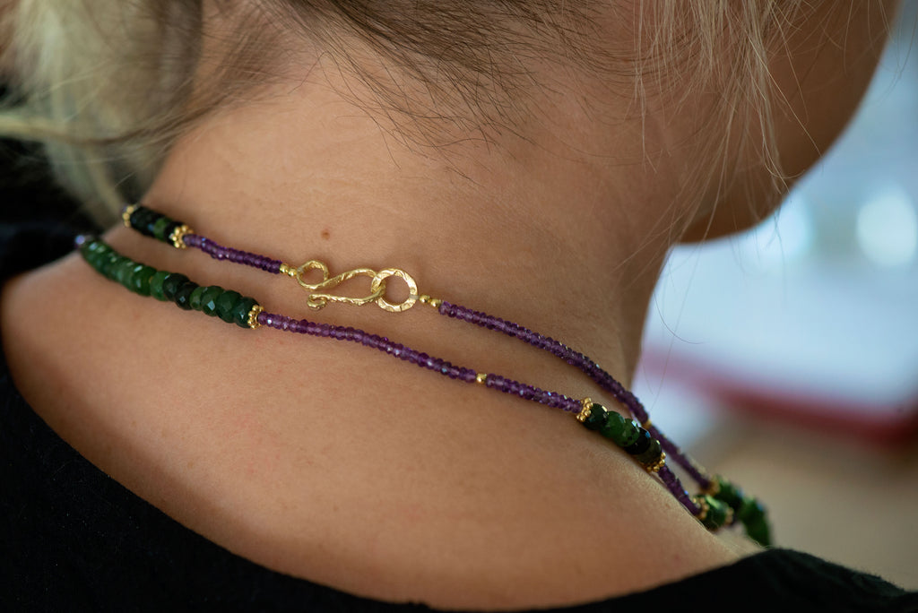 Canadian Jade and Purple Amethyst Gemstone Gold Plated Necklace