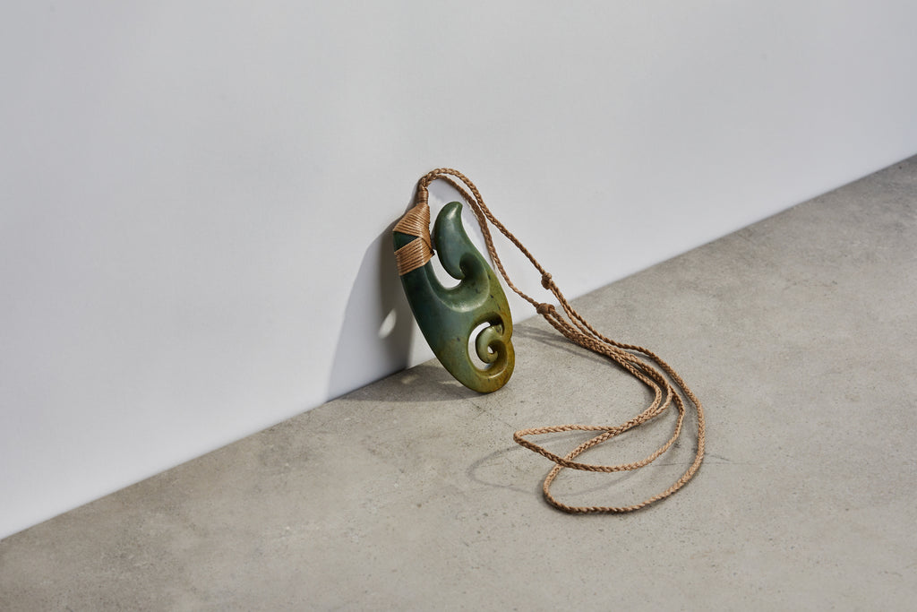 Flower Jade Koru Hook Necklace