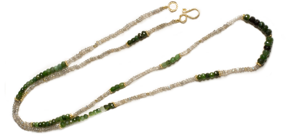 Canadian Jade and Labradorite Gemstone Gold Plated Beaded Necklace