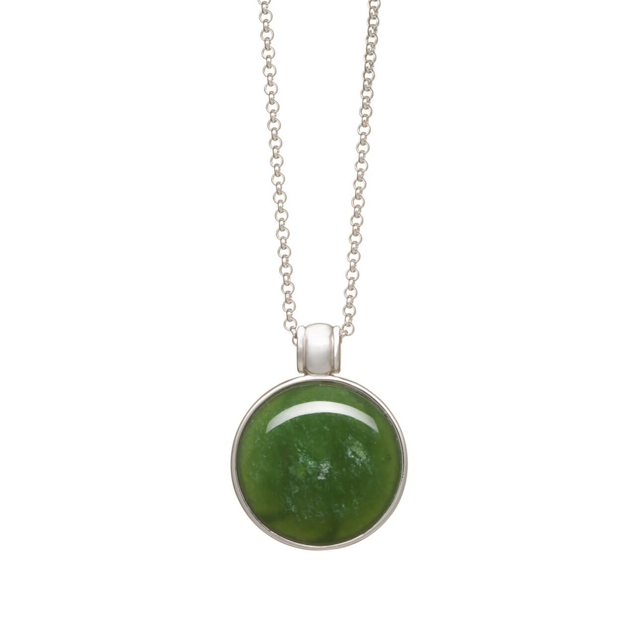 New Zealand Pounamu Silver Circle Necklace