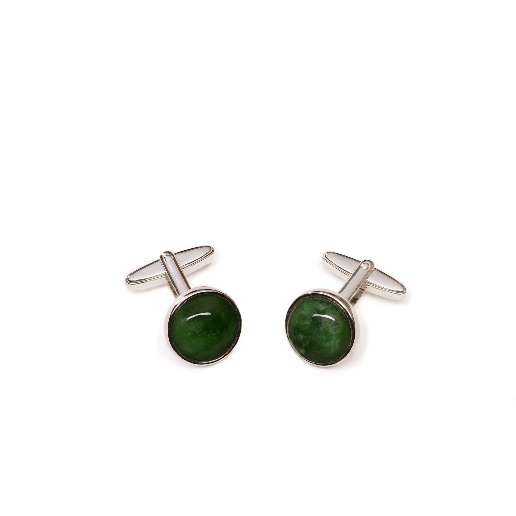 New Zealand Greenstone Round Cufflinks