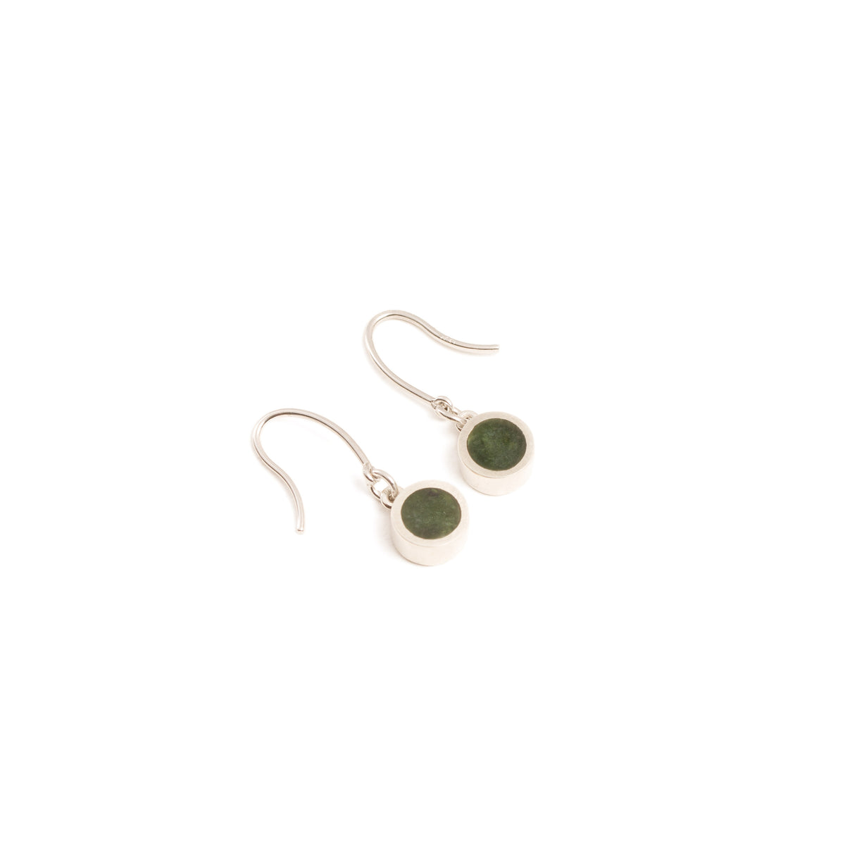 New Zealand Greenstone Tiny Round Drop Earrings