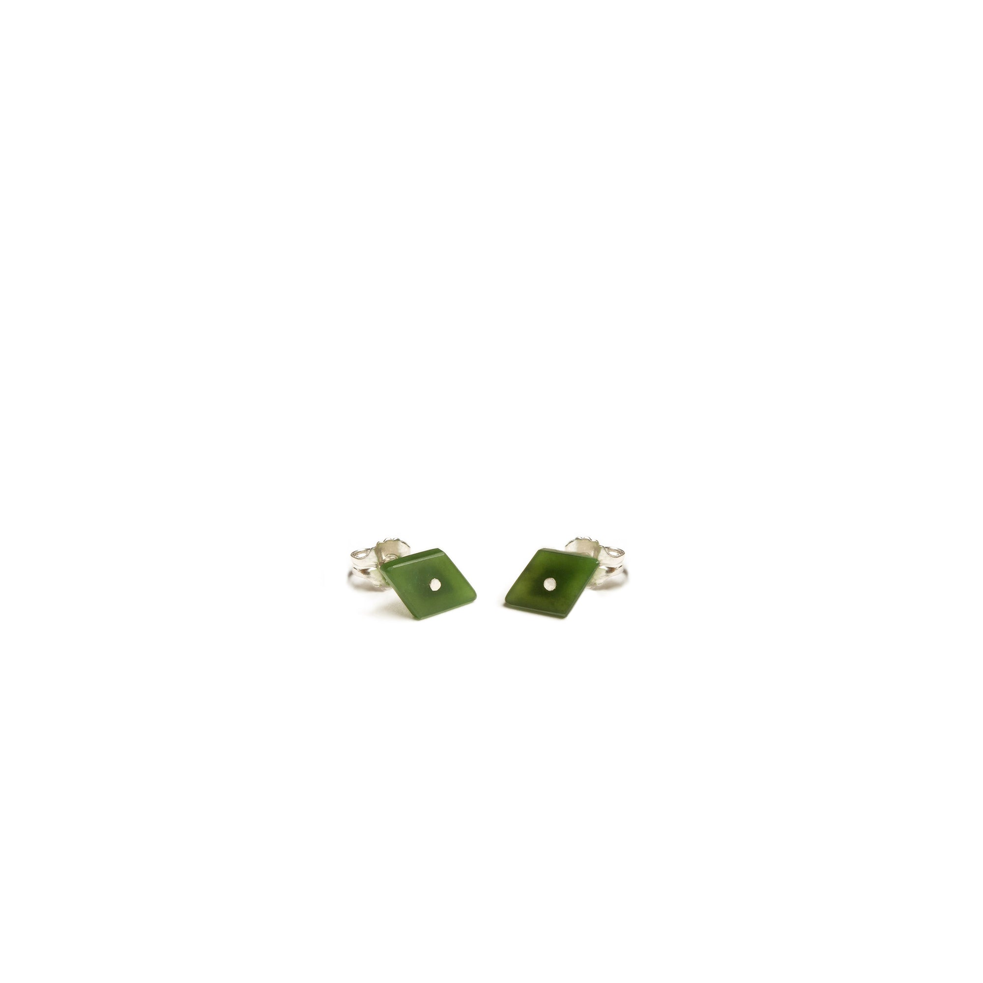 New Zealand Pounamu Diamond Shaped Stud Earrings