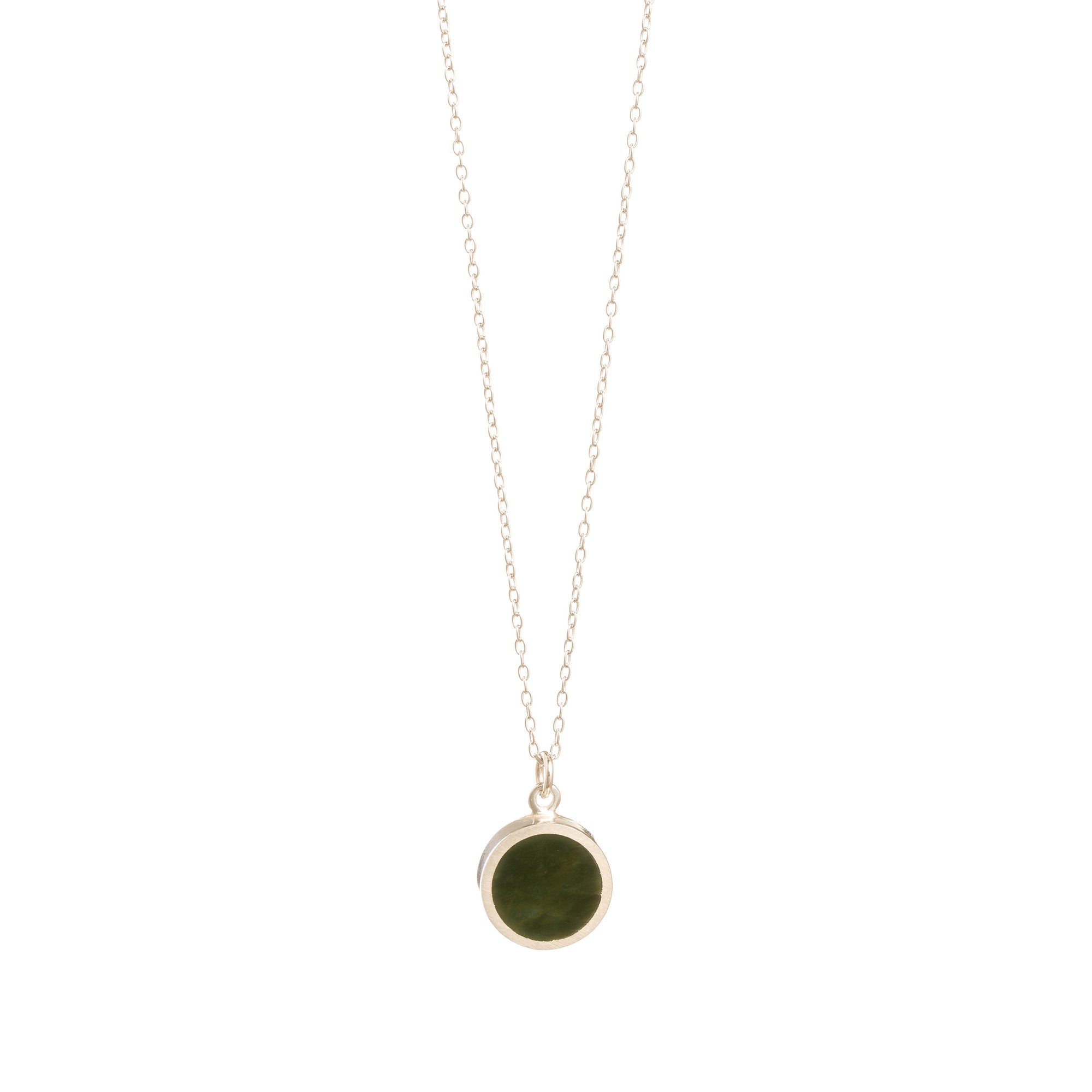 New Zealand Pounamu Silver Disc Necklace